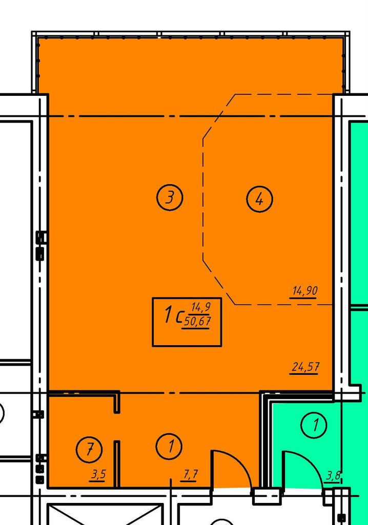 Второй этаж: Однокомнатная квартира (№3) в Социум, ООО