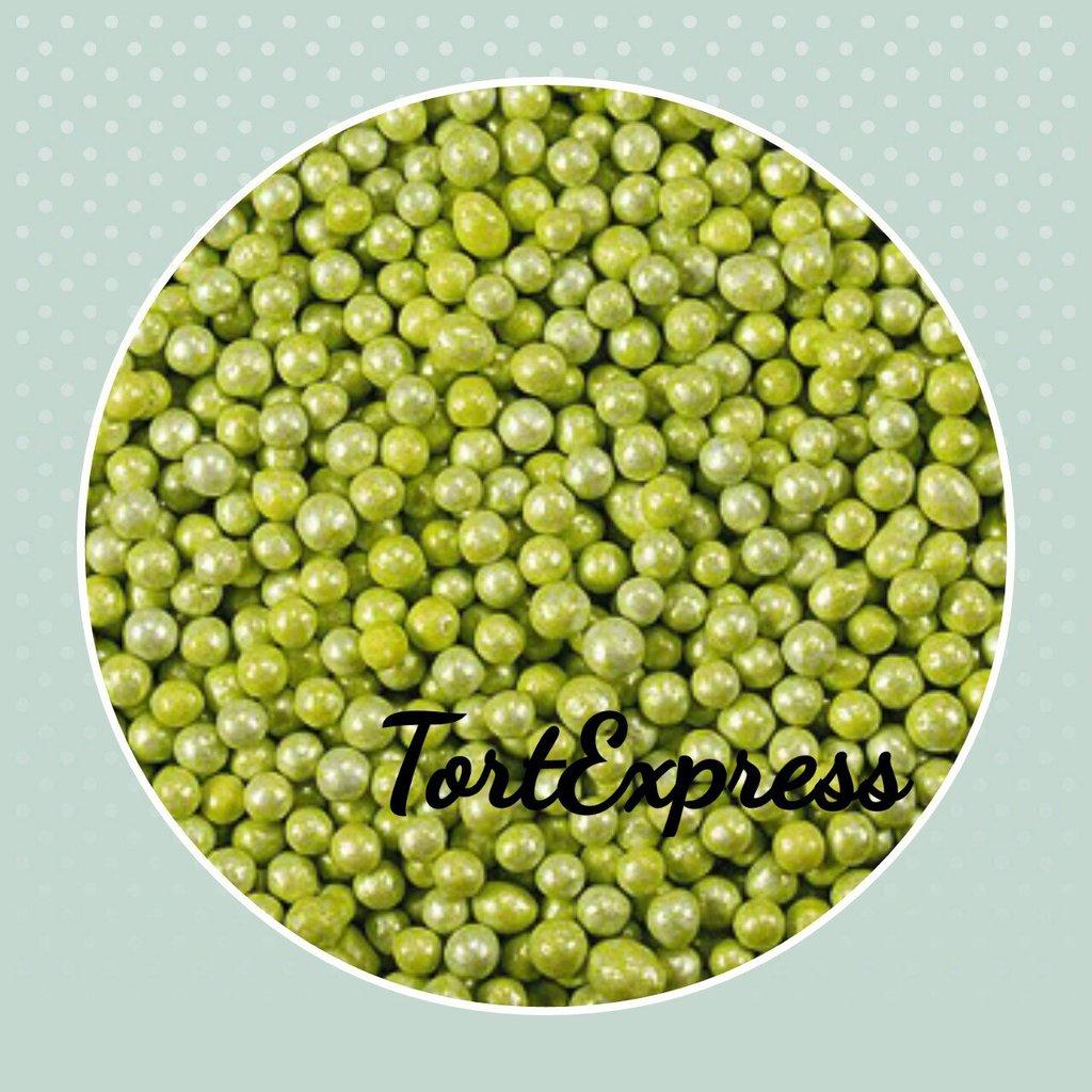 Посыпки декоративные: Шарики Зеленые перламутровые (2 мм) в ТортExpress