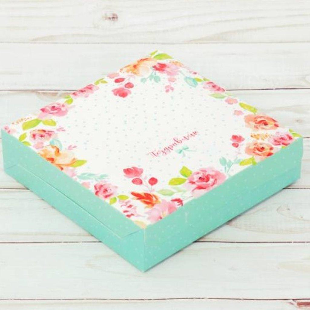 Коробки для кондитерских изделий: Коробка складная «Поздравляю», 14 × 14 × 3.5 см в ТортExpress