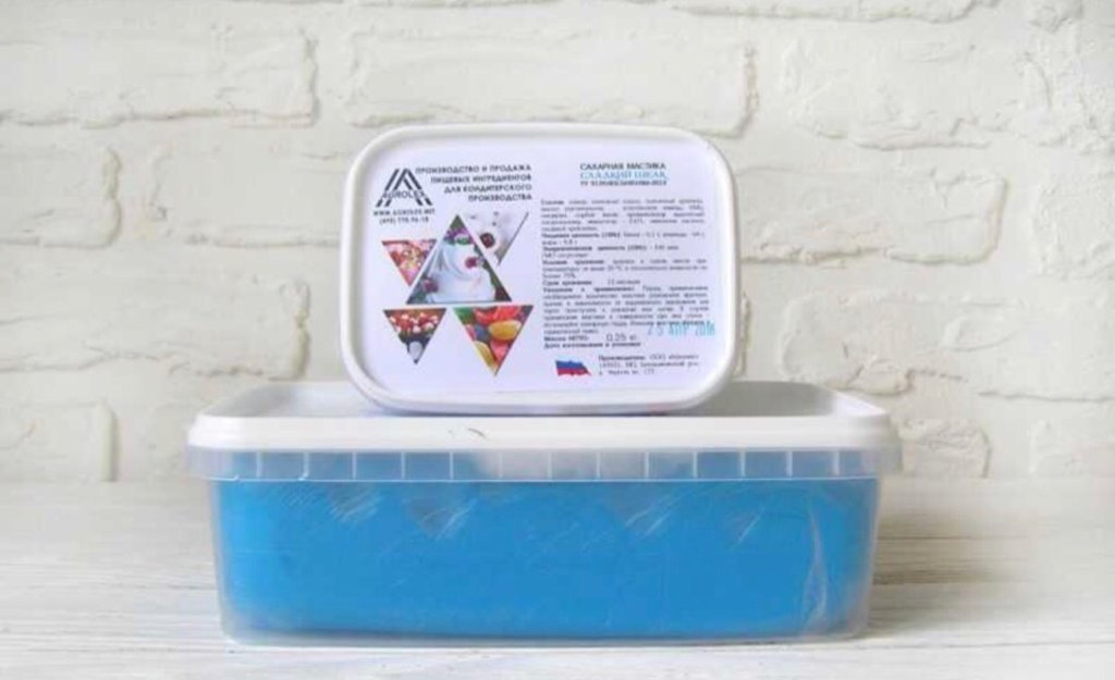 Ингредиенты: Мастика сахарная для обтяжки Сладкий шелк Светло-синяя в ТортExpress