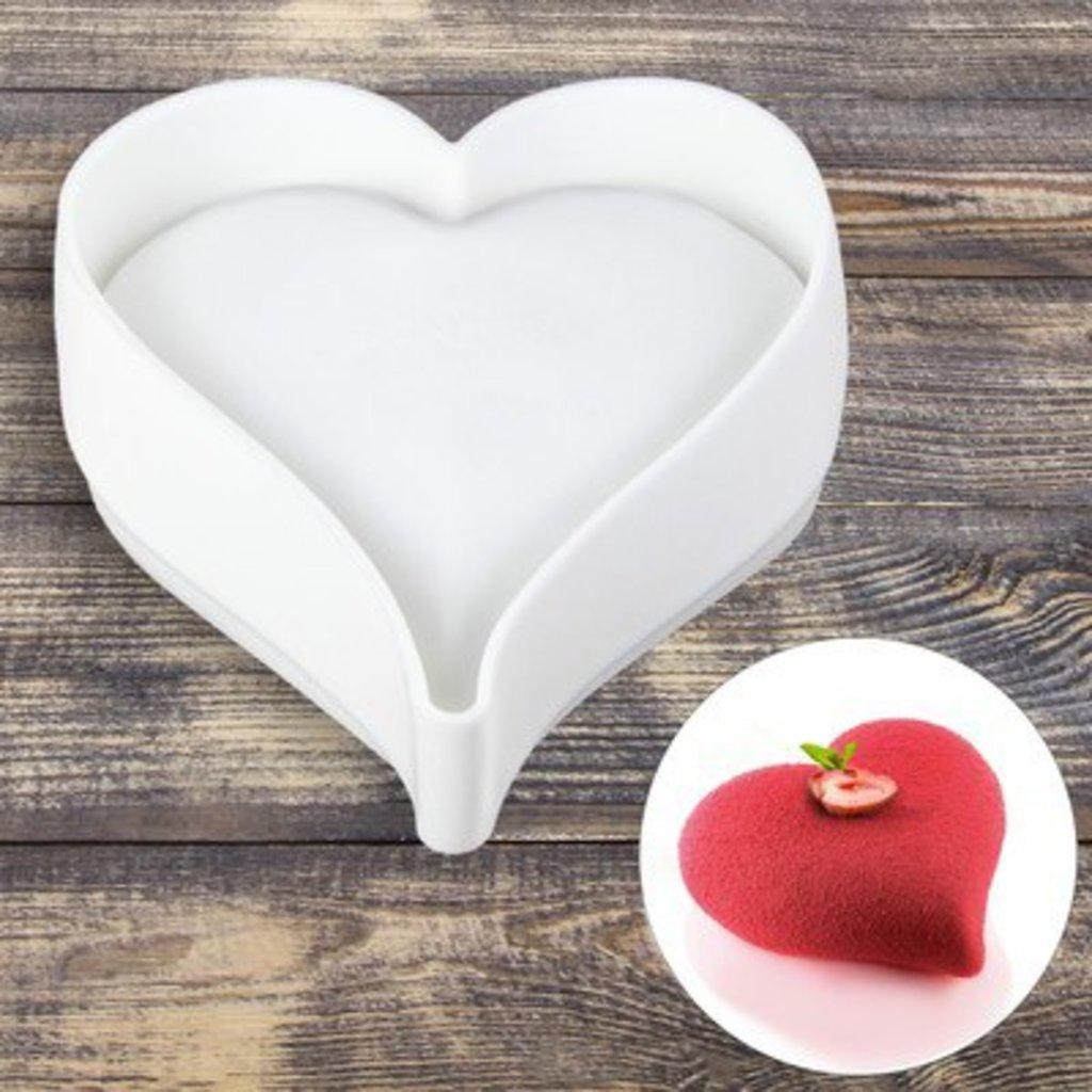 """3d формы: Форма для муссовых десертов и выпечки 17×16 см """"Сердечко"""", цвет белый в ТортExpress"""