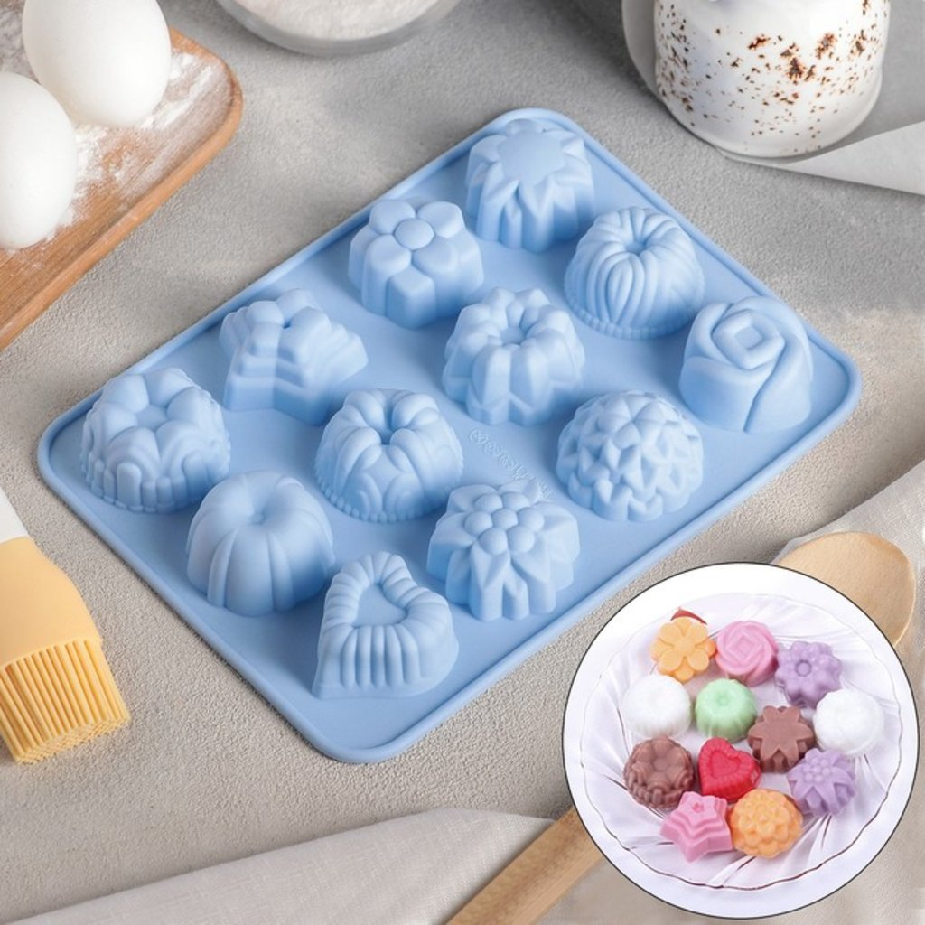 Силиконовые формы для выпечки: Форма для выпечки Цветочное ассорти 12 ячеек в ТортExpress