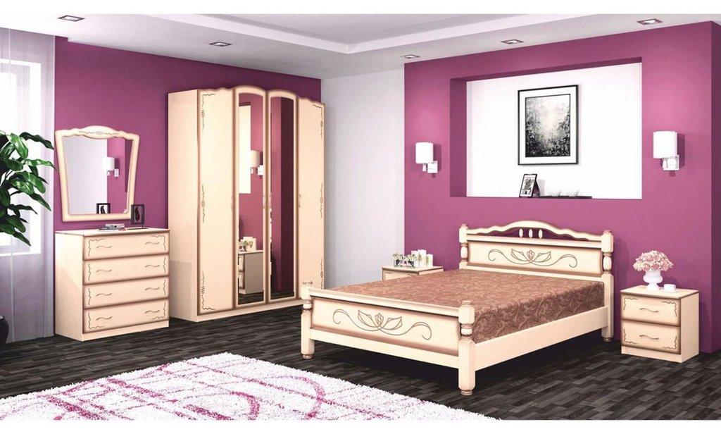 Спальный гарнитур Виктория (лак): Шкаф ШР-4 Виктория (лак), платье и бельё,  без ящиков, 2 зеркала в Уютный дом