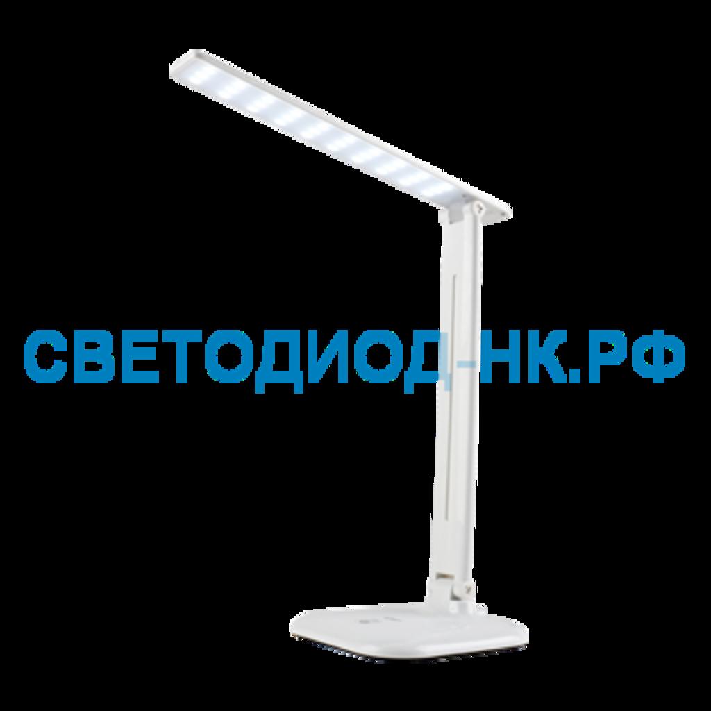Настольные лампы, ночники: Светильник настольный LED ССО-02Б 10Вт сенсор-диммер адаптер Белый In Home в СВЕТОВОД