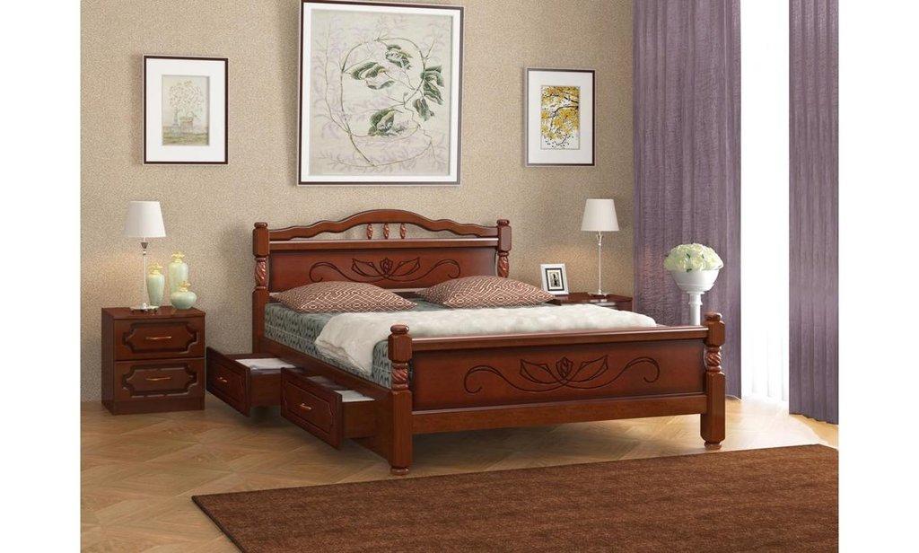 Серия Карина: Кровать Карина-5 с ящиками (массив) в Уютный дом