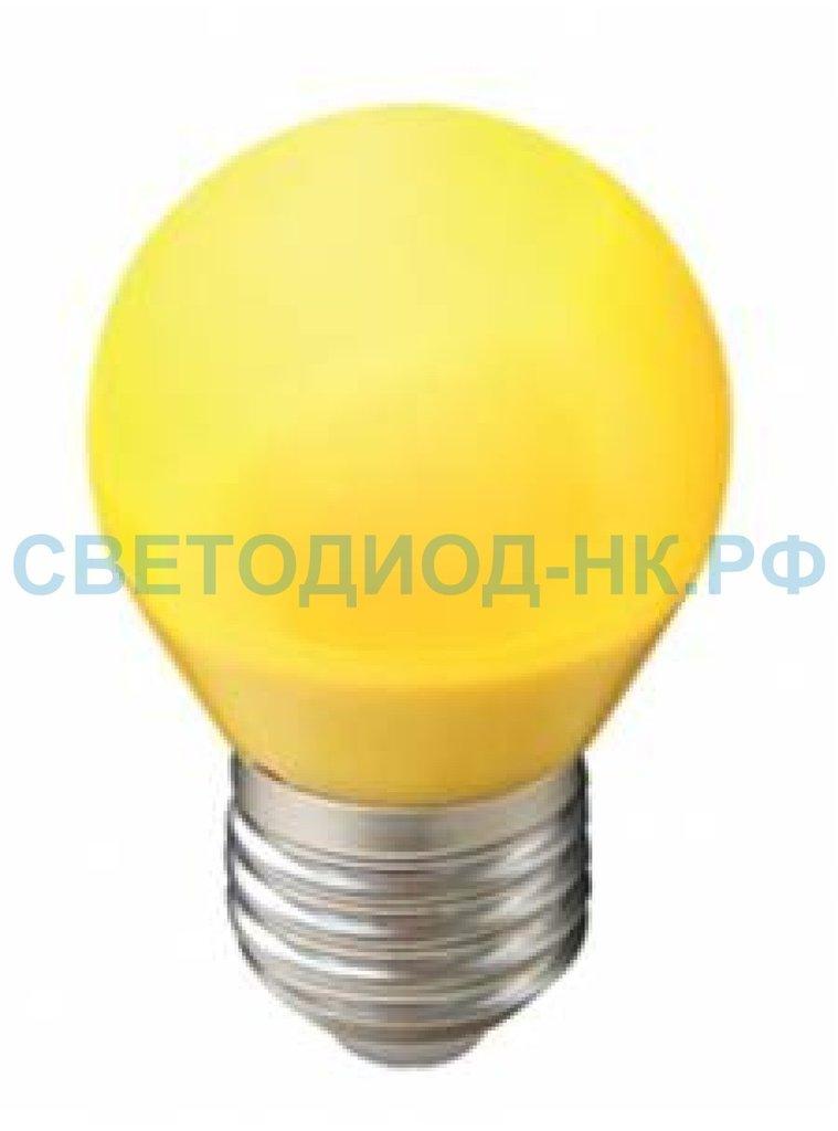 Цветные лампы: Светодиодная лампа Ecola шар G45 E27 5W Желтый матовый 77x45 K7CY50ELB в СВЕТОВОД