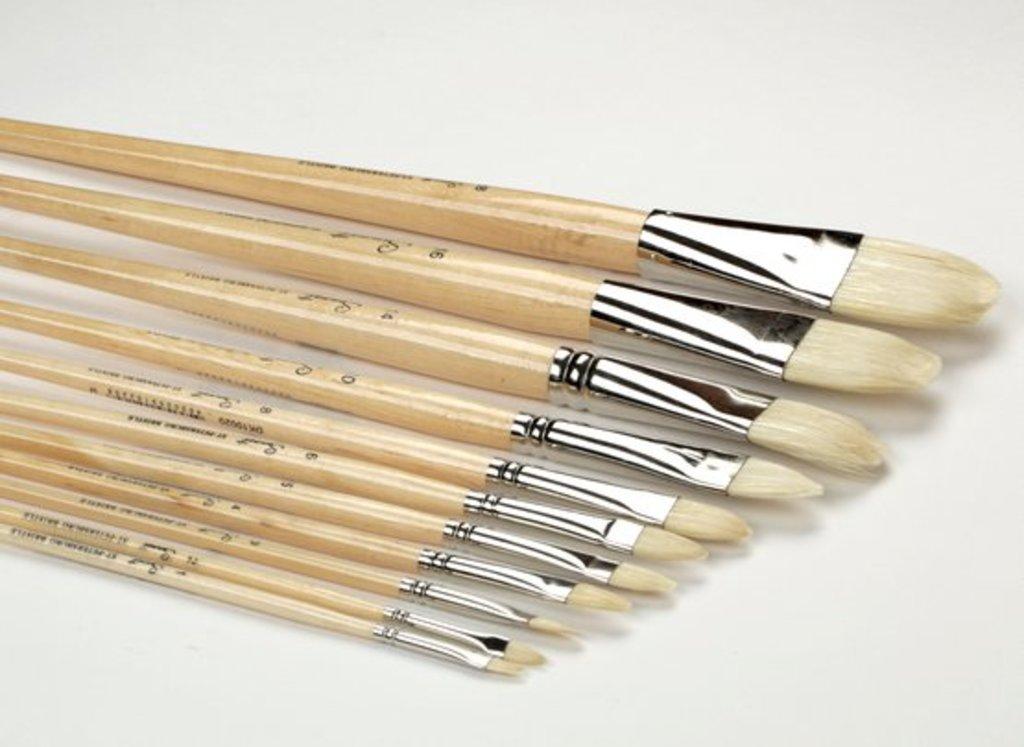 """овальная: Кисть щетина """"Сонет"""" овальная длинная ручка покрытая лаком №18 (39мм) в Шедевр, художественный салон"""