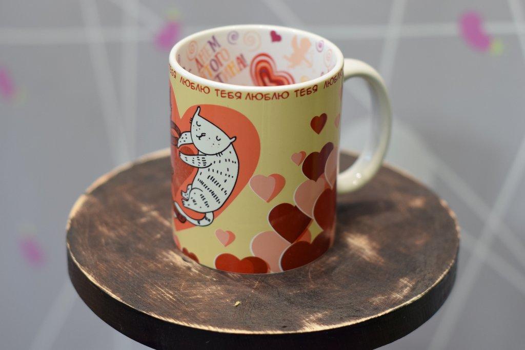 """Чашки и кружки: Кружка белая керамическая с принтом внутри """"С днем Святого Валентина!"""" в Баклажан, студия вышивки и дизайна"""