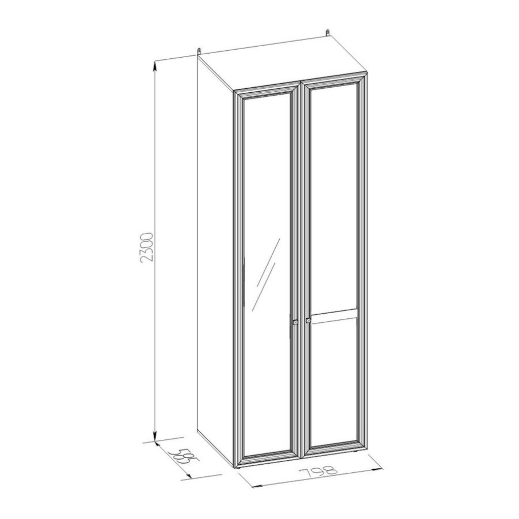 Шкафы для одежды и белья: Шкаф для одежды PAOLA 54 патина (Зеркало лев.+Стандарт) в Стильная мебель