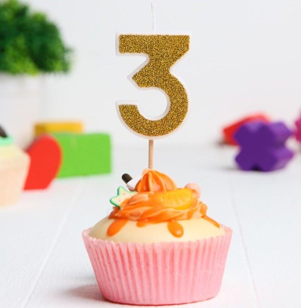 Свечи: Свеча в торт цифра 3, Гадкий Я, с блестками, 3,5 х 5 см в ТортExpress