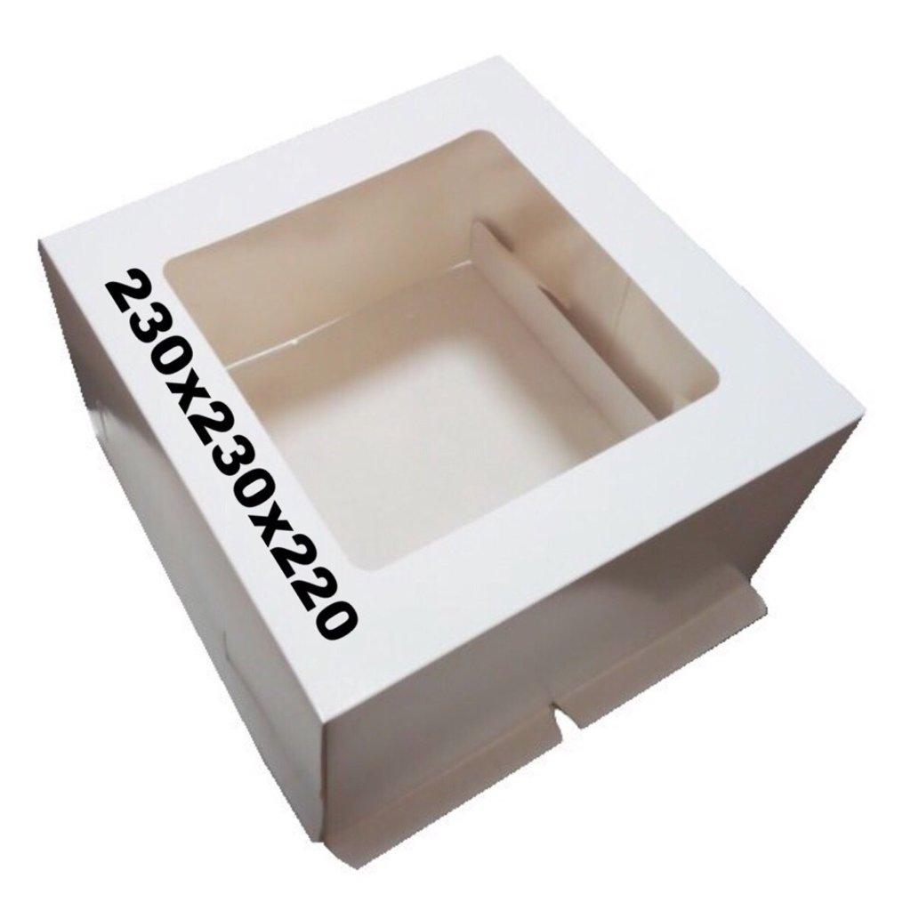 Упаковка: Коробка под торт 230х230х220 с окном в ТортExpress