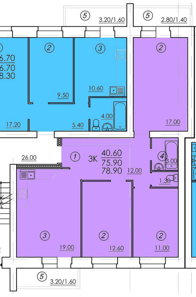 Трехкомнатные квартиры: Трехкомнатная квартира (№50) в РСУ-15  Специализированный застройщик ООО