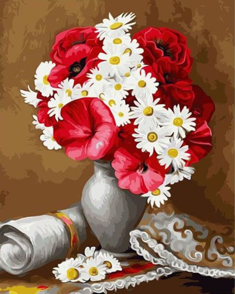 Картины по номерам: Картина по номерам Paintboy 40*50 Букет маков и ромашек GX22036 в Шедевр, художественный салон