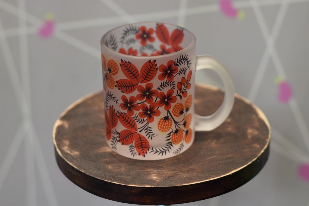 Чашки и кружки: Кружка стеклянная матовая в Баклажан, студия вышивки и дизайна