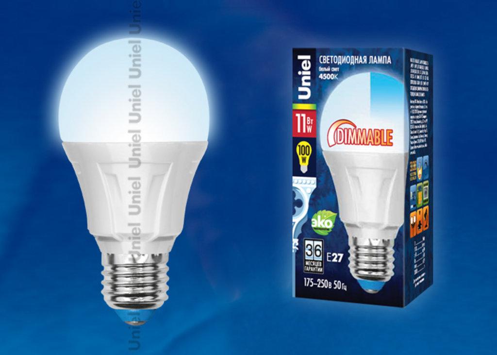 Цоколь Е27: LED-A60-11W/NW/E27/FR/DIM PLP01WH в СВЕТОВОД