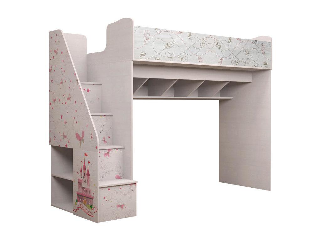 Детские и подростковые кровати: Комплекс универсальный (с лестницей) 18 Принцесса (80х190, усилен. настил) в Стильная мебель