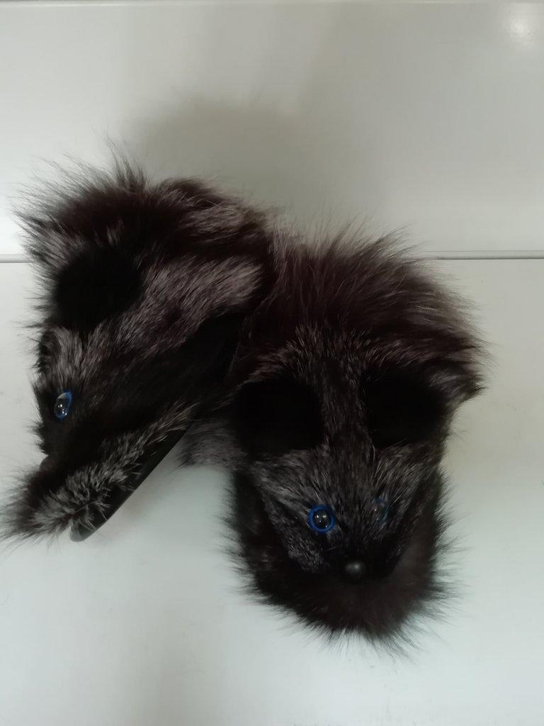 Изделия из натурального меха и кожи (перчатки, варежки, тапочки): Тапочки мех чернобурки в Сельский магазин