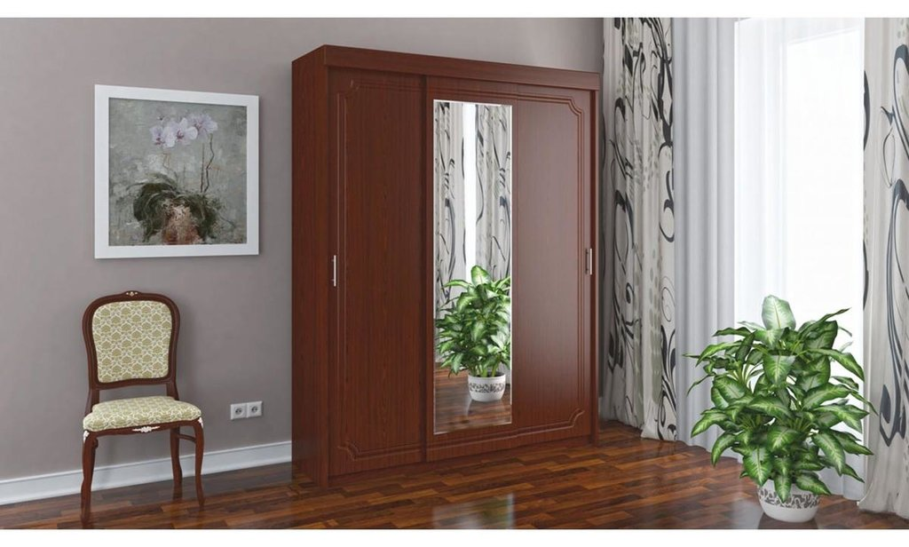 Спальный гарнитур Классик: Шкаф ШК-3 Классик, платье и бельё, 1 зеркало в Уютный дом