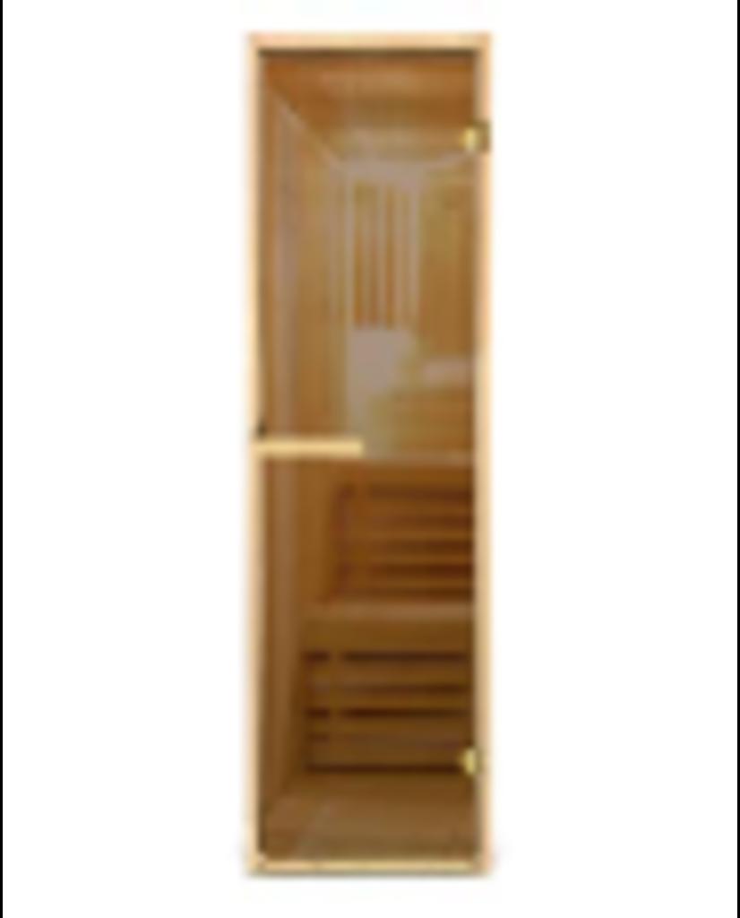 Двери для саун и бань: Дверь в парную (каленное стекло 6 мм. ) цвет бронза без рисунка 70х1900 см в Погонаж