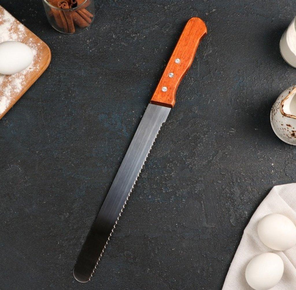 Шпатели, лопатки: Нож для бисквита крупные резцы, рабочая поверхность 25 см в ТортExpress