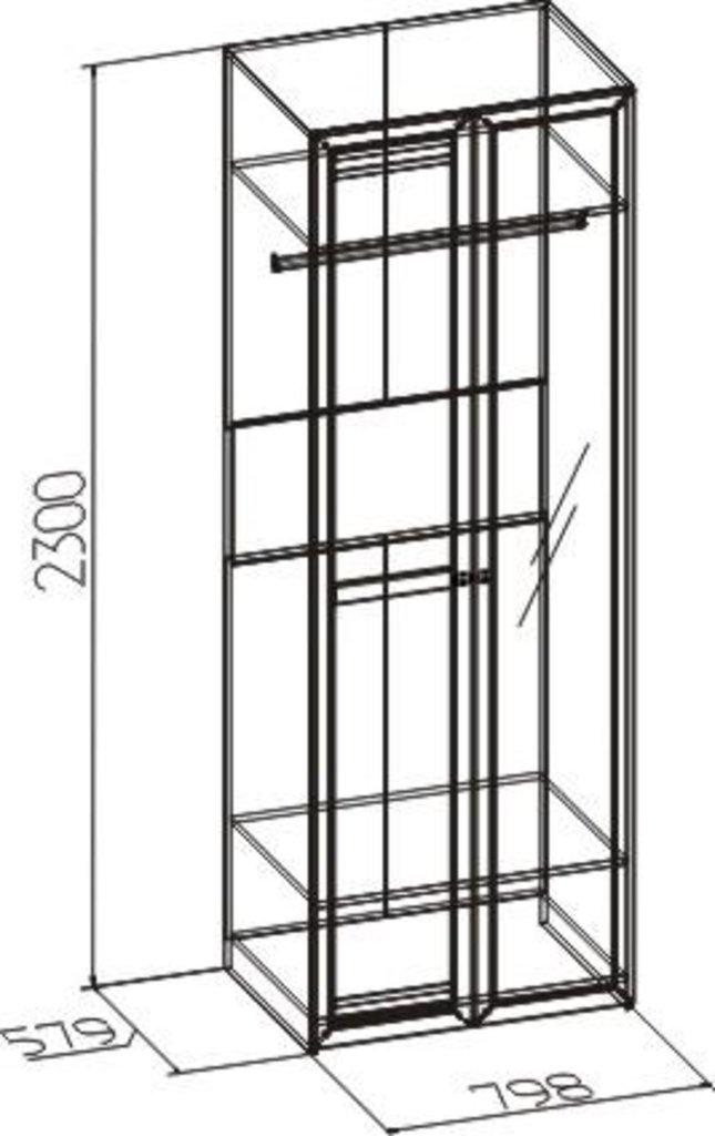 Шкафы для одежды и белья: Шкаф для одежды Бриз 54 (Стандарт+Зеркало) в Стильная мебель
