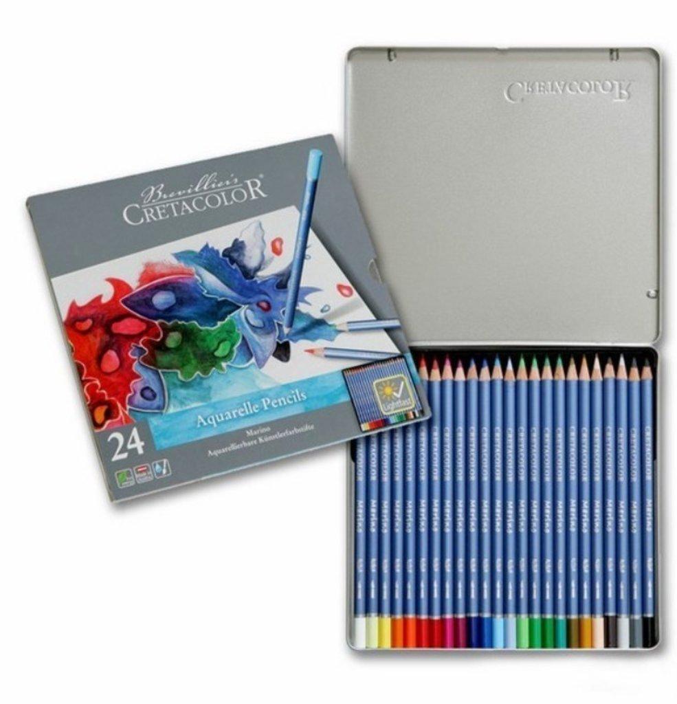 Акварельные карандаши: Акварельные цветные карандаши в железном пенале CRETACOLOR 24 цвета в Шедевр, художественный салон