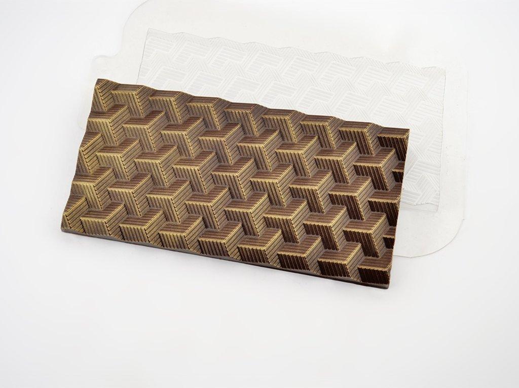 Пластиковые формы для шоколада: Форма для шоколада Плитка Кубики полосатые в ТортExpress
