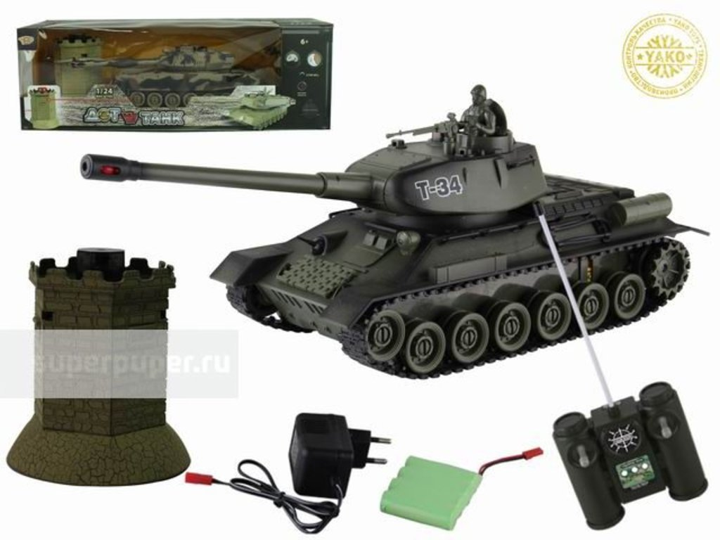 Игрушки для мальчиков: Танк р/у на аккумуляторах с зарядным устройством 6106-4 в Игрушки Сити