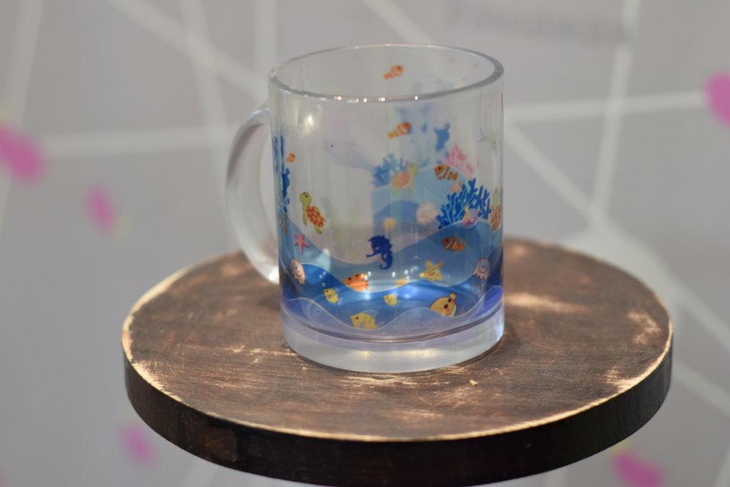 Чашки и кружки: Кружка стеклянная прозрачная в Баклажан, студия вышивки и дизайна