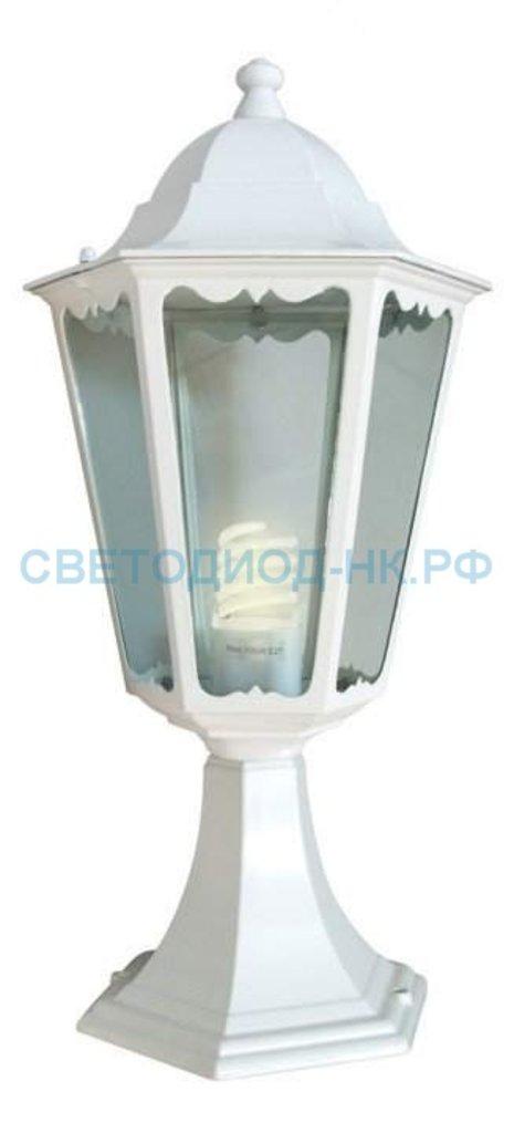 Садово-парковые светильники: 6104 60W 230V E27 170*170*370мм белый на постамент в СВЕТОВОД