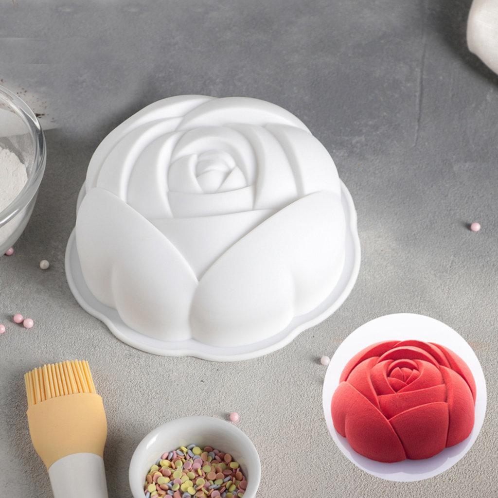 3d формы: Форма для муссовых десертов и выпечки «Роза», 17×5,5 см, цвет белый в ТортExpress