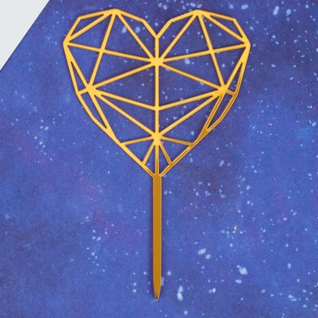 "Любовь: Топпер ""Сердце"" геометрия,цвет золото в ТортExpress"