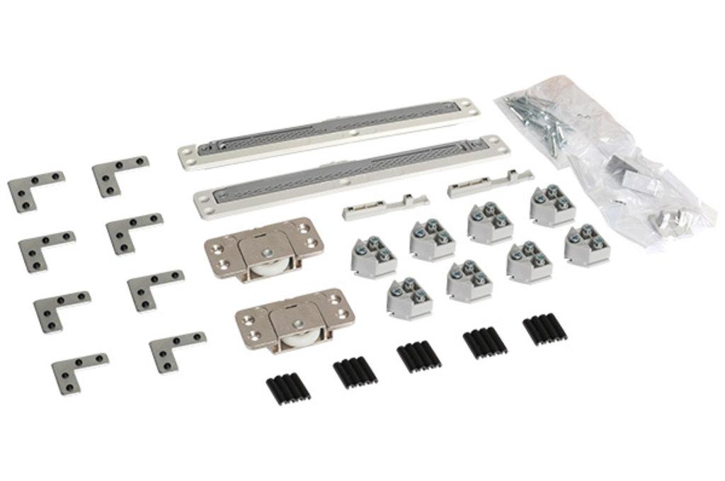 Система раздвижных дверей LIVING BASE: Комплект фурнитуры для 1 фасада до 20 кг (алюминиевый/накладной) с доводчиками в МебельСтрой