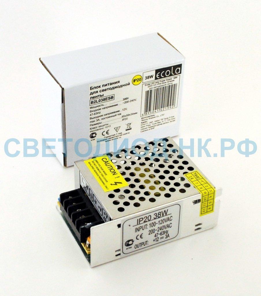 В защитном кожухе: Ecola Блок питания для св/д лент 12V 38W IP20 80х60х33 (интерьерный) B2L038ESB в СВЕТОВОД