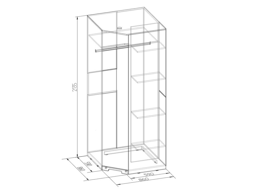Шкафы, общие: Шкаф угловой ФАСАД Зеркало БРИЗ 10 в Стильная мебель