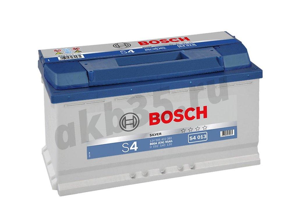 Аккумуляторы: BOSCH 95 А/ч Обратный S4 013 SILVER (595 402 080) в Планета АКБ
