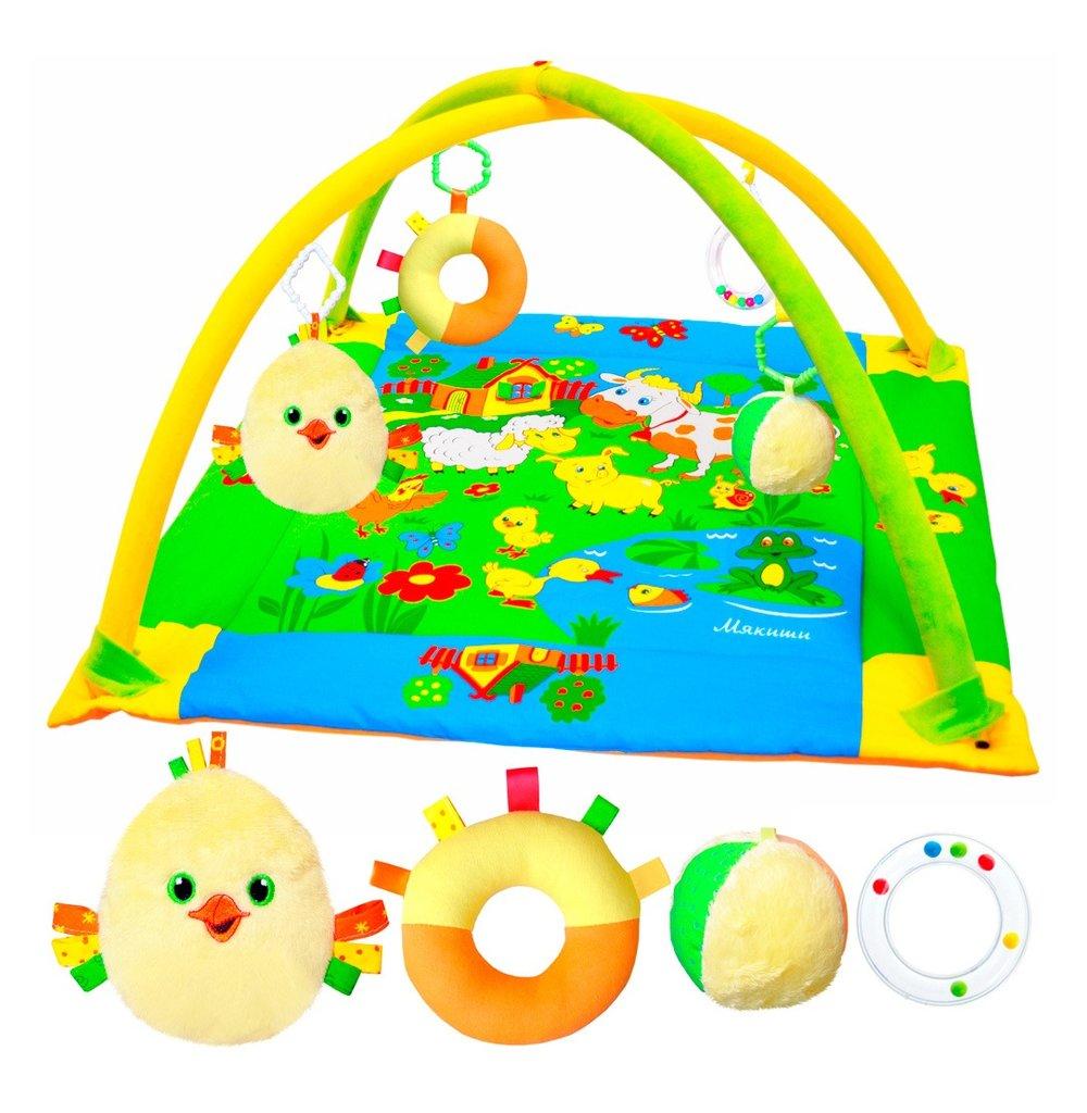 Игрушки для малышей: Развивающий коврик 195 Лужайка с дугами с цыпленком ТМ Мякиши в Игрушки Сити