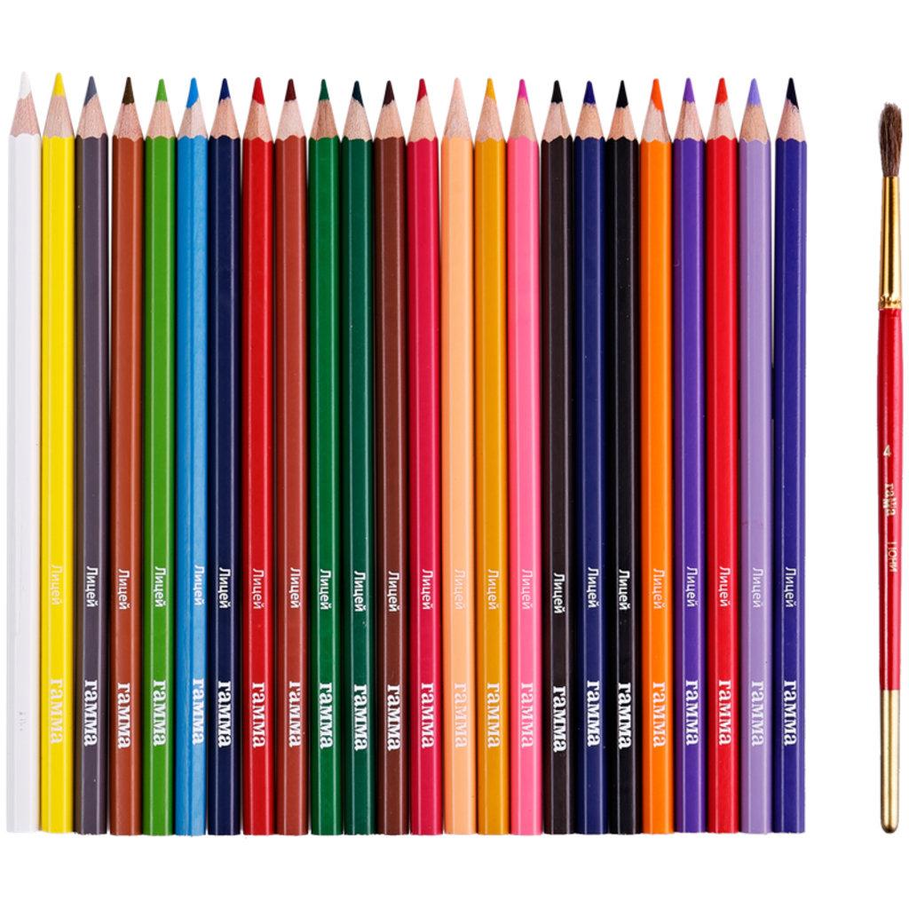 """Акварельные карандаши: Карандаши акварельные Гамма """"Лицей"""", 24цв, шестигран., заточ., с кистью, картон в Шедевр, художественный салон"""