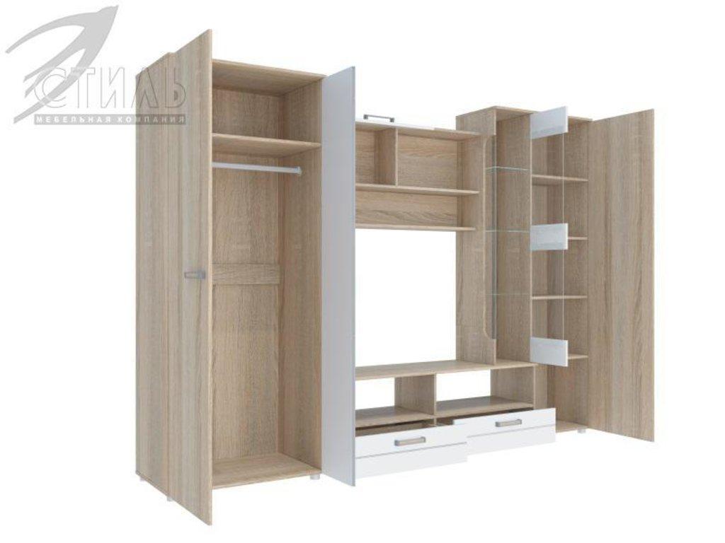 Гостиные: Мебель для гостиной Флоренция - 5 (дуб сонома светлый / белый глянец) в Диван Плюс