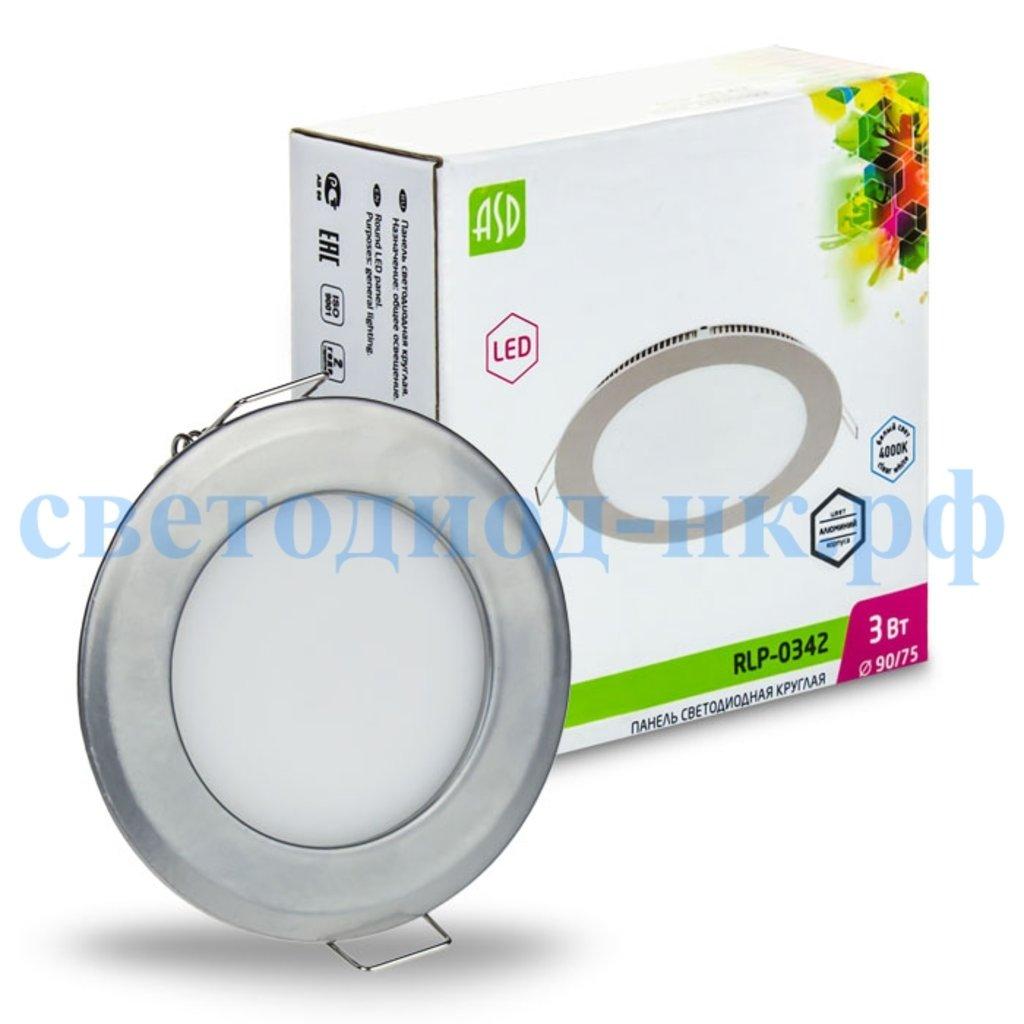 Встраиваемые светодиодные светильники: Панель светодиодная круглая RLP 3Вт 230В 4000К 240Лм 90/75мм алюминий IP40 в СВЕТОВОД
