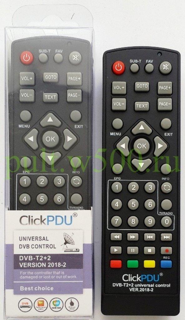 Пульт универсальный для приставок: Пульт универсальный для TV  приставок (DVB-T2+2 ver.2018-2) ClickPdu в A-Центр Пульты ДУ