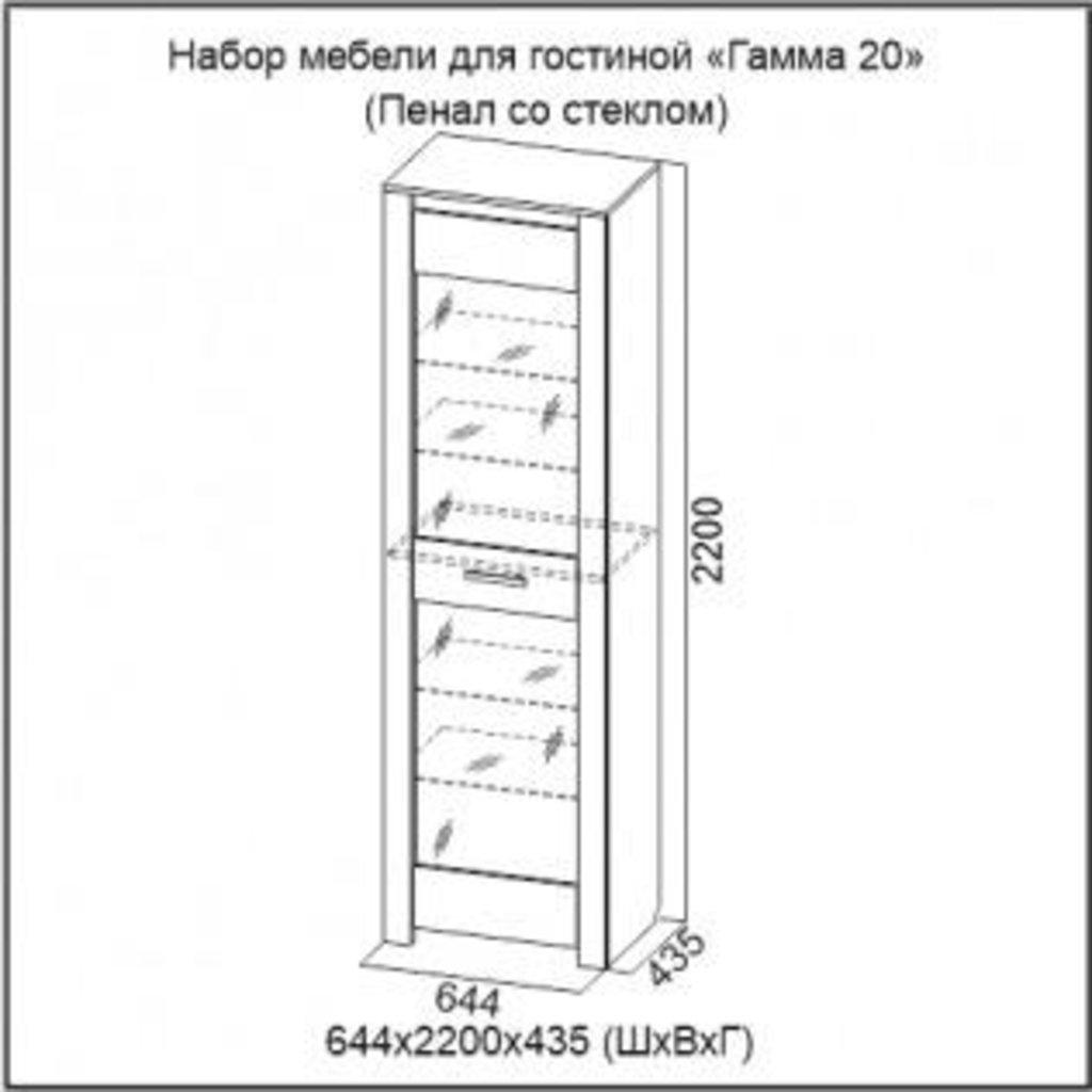 Мебель для гостиной Гамма-20: Пенал со стеклом Гамма-20 в Диван Плюс