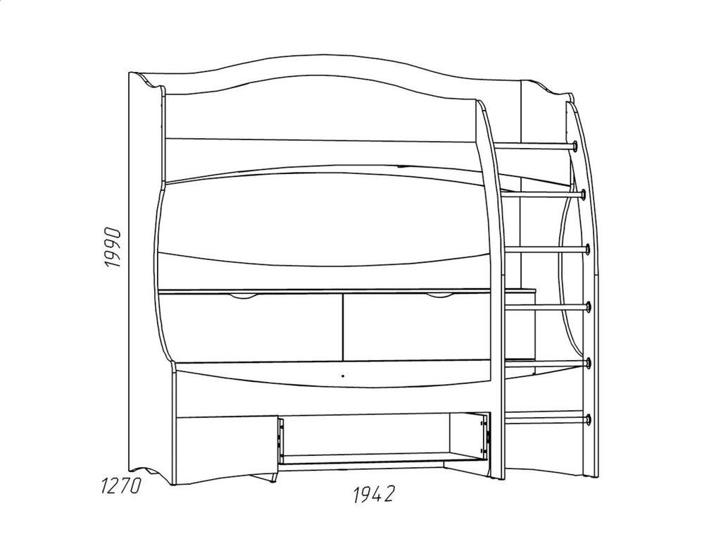 Детские и подростковые кровати: Кровать 2-х ярусная НМ 011.74 Прованс (800x1900, усилен. настил) в Стильная мебель