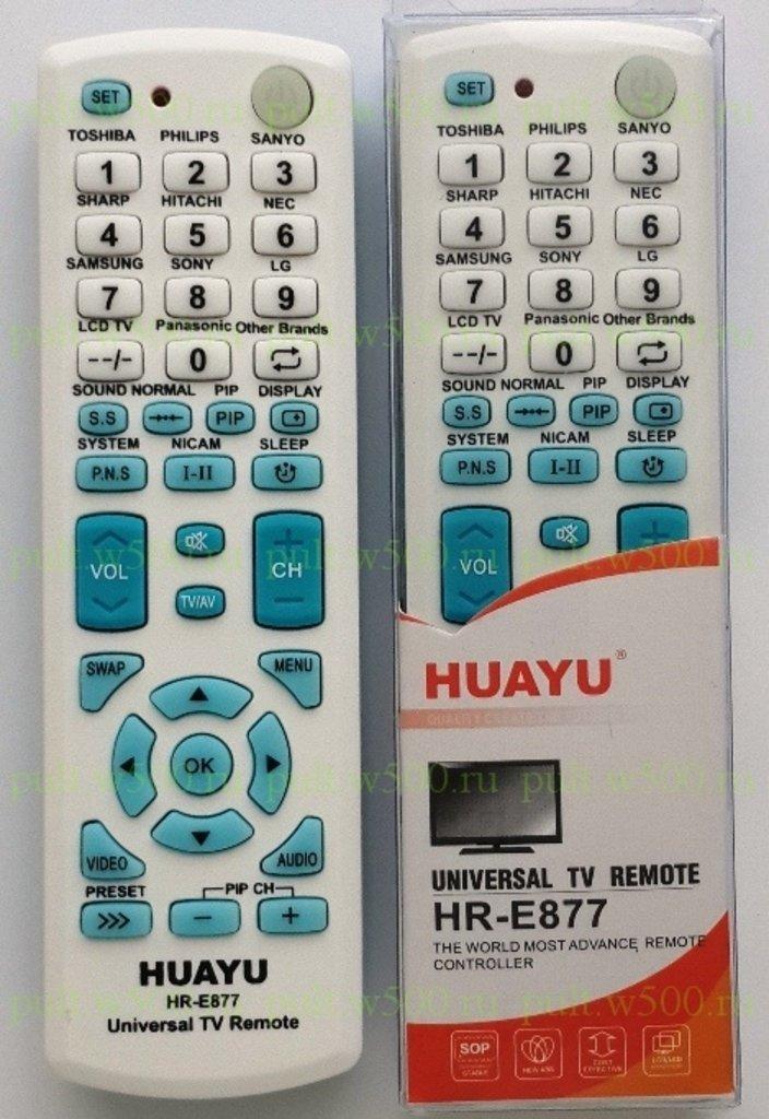 Пульты универсальные: Пульт HUAYU HR-E877 синий (УНИВ.TV) в A-Центр Пульты ДУ