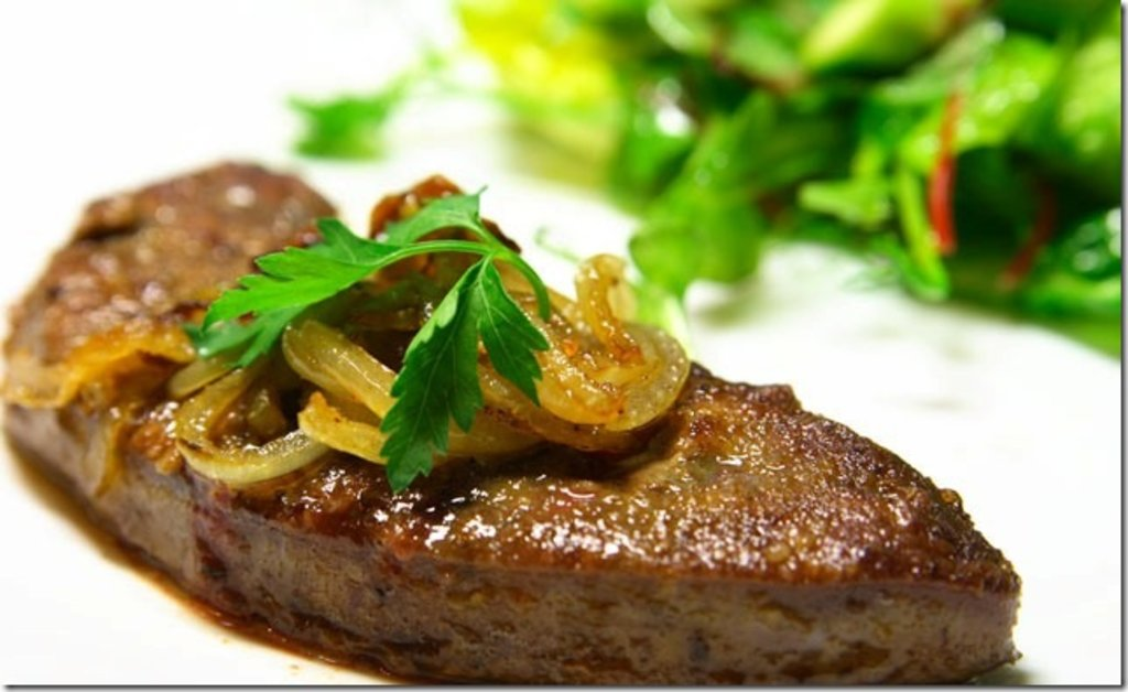 Среда: КОМПЛЕКС: стейк из говяжей печени с овощами + сож. гарнир + салат с фасолью (350 г) в Смак-нк.рф