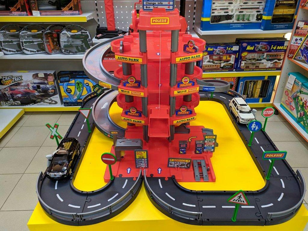Игрушки для мальчиков: Паркинг 4-уровневый с дорогой и автомобилями (красный) Полесье в Игрушки Сити