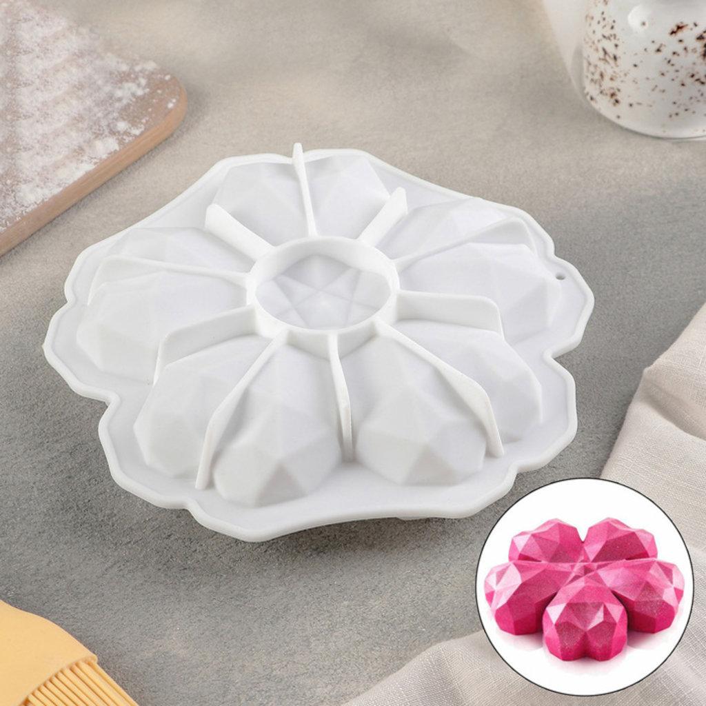 3d формы: Форма для и муссовых десертов и выпечки 19,5×19,5 см «Флер де пьер», цвет белый в ТортExpress
