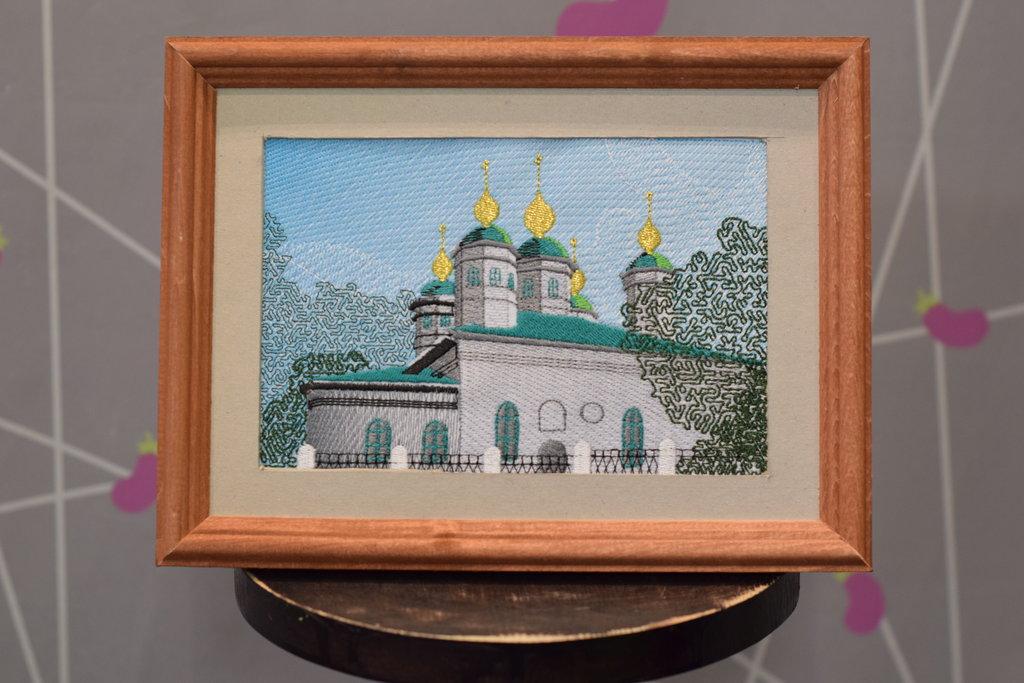 """Декоративная вышивка: Картина """"Воскресенский собор"""" (машинная вышивка) в Баклажан, студия вышивки и дизайна"""