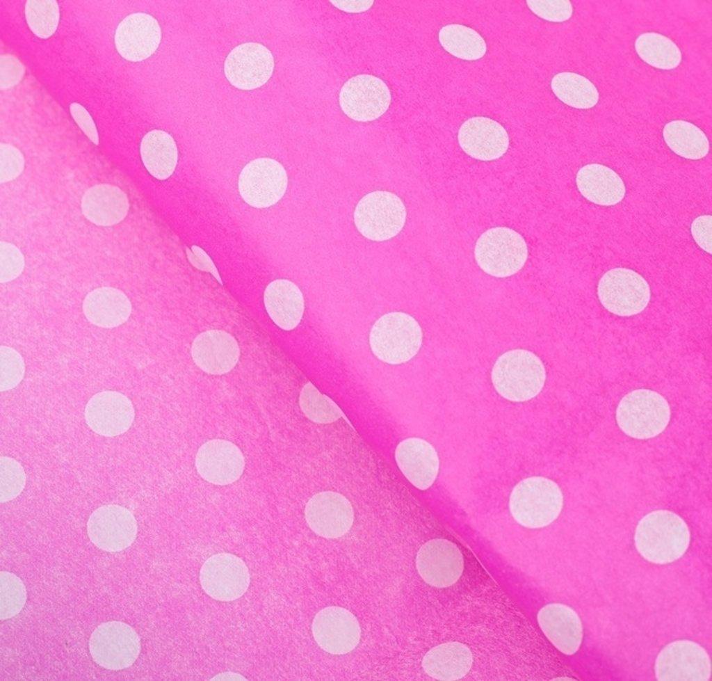 """Упаковка: Бумага упаковочная тишью """"Горох"""", розовый, 50 х 66 см в ТортExpress"""