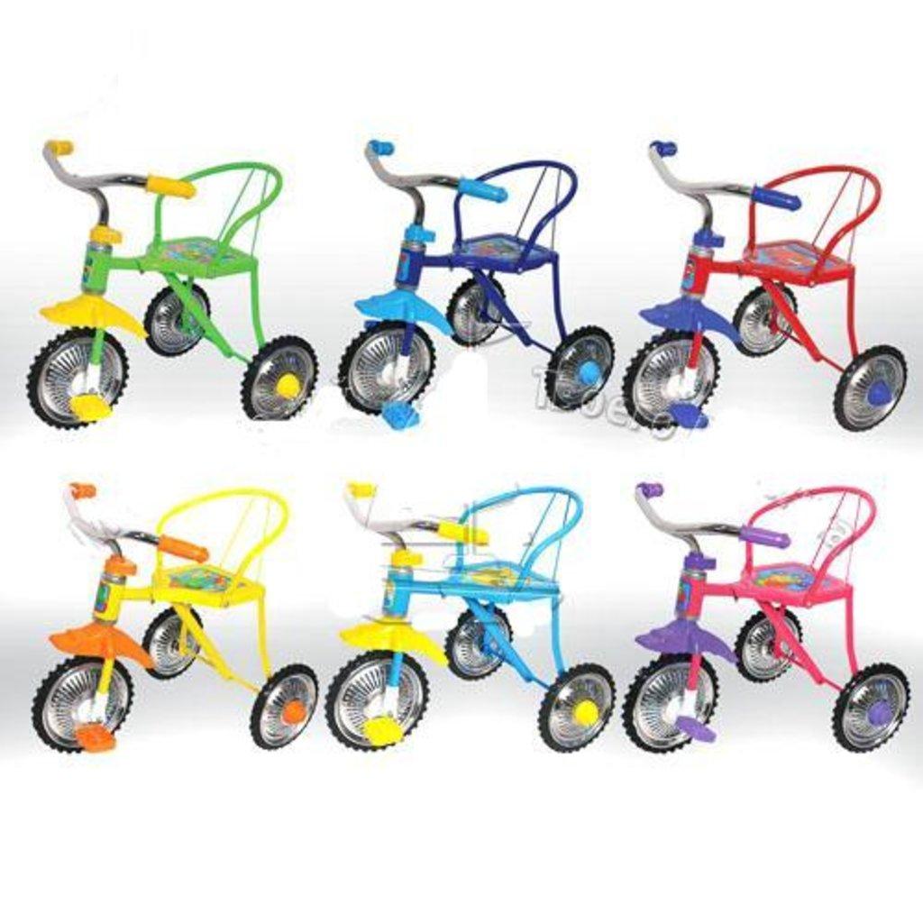 Транспорт для малышей: Велосипед трехколесный, 3-х цветные ПВХ колеса 10' и 8', 6 цветов в ассортименте LH702 в Игрушки Сити
